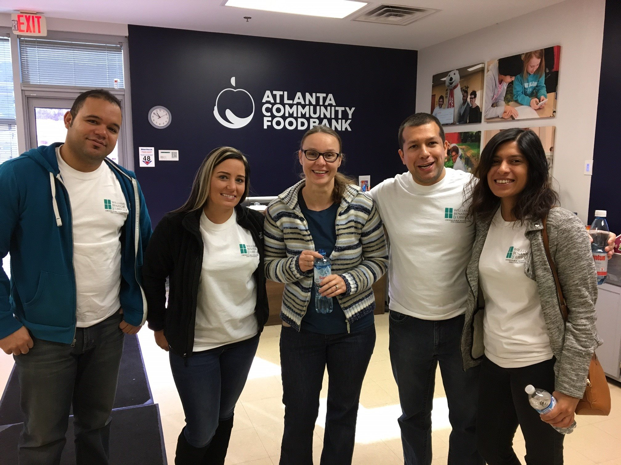Danny, Molly, Petra, David and Sabika arrive at the Atlanta Community Food Bank to volunteer (2016).