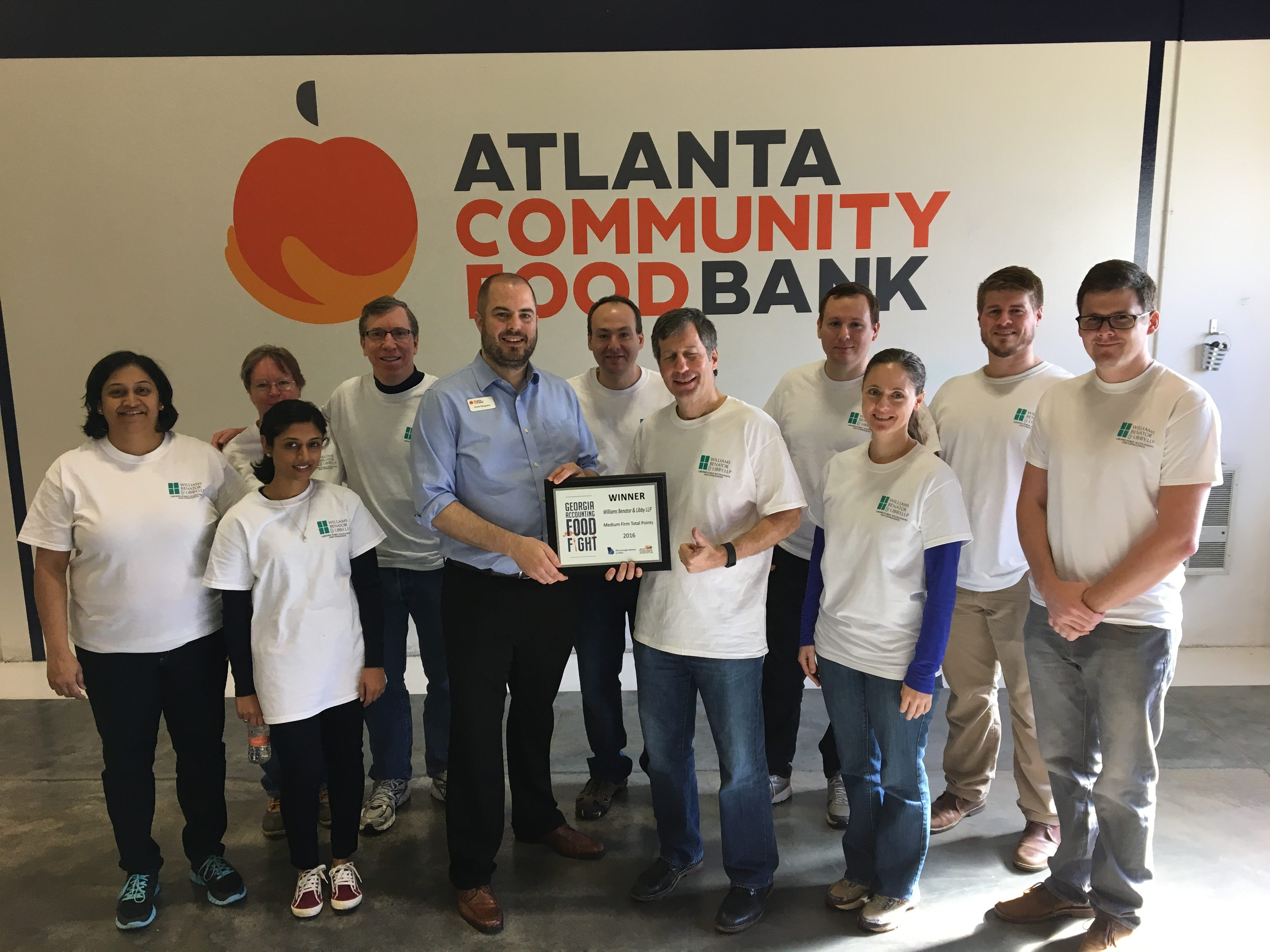 Managing Partner Bruce Benator accepts WBL's award from the Atlanta Community Food Bank for winning our category in GSCPA's Food Fight (ACFB 2016).