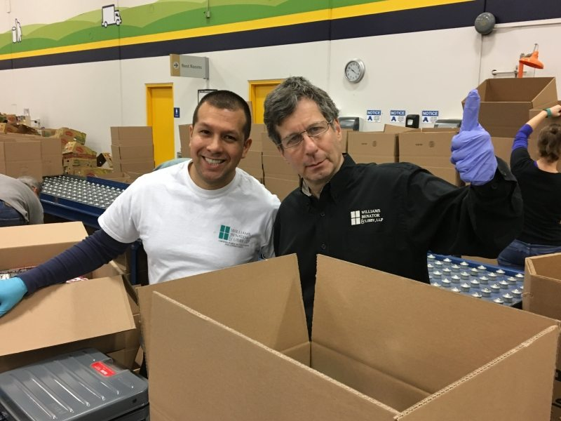 David McLeod and Bruce filled boxes with donated food at ACFB (12/6/2017).