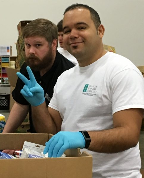 Justin and Danny helped tally all the packed boxes (ACFB 12/6/2017).
