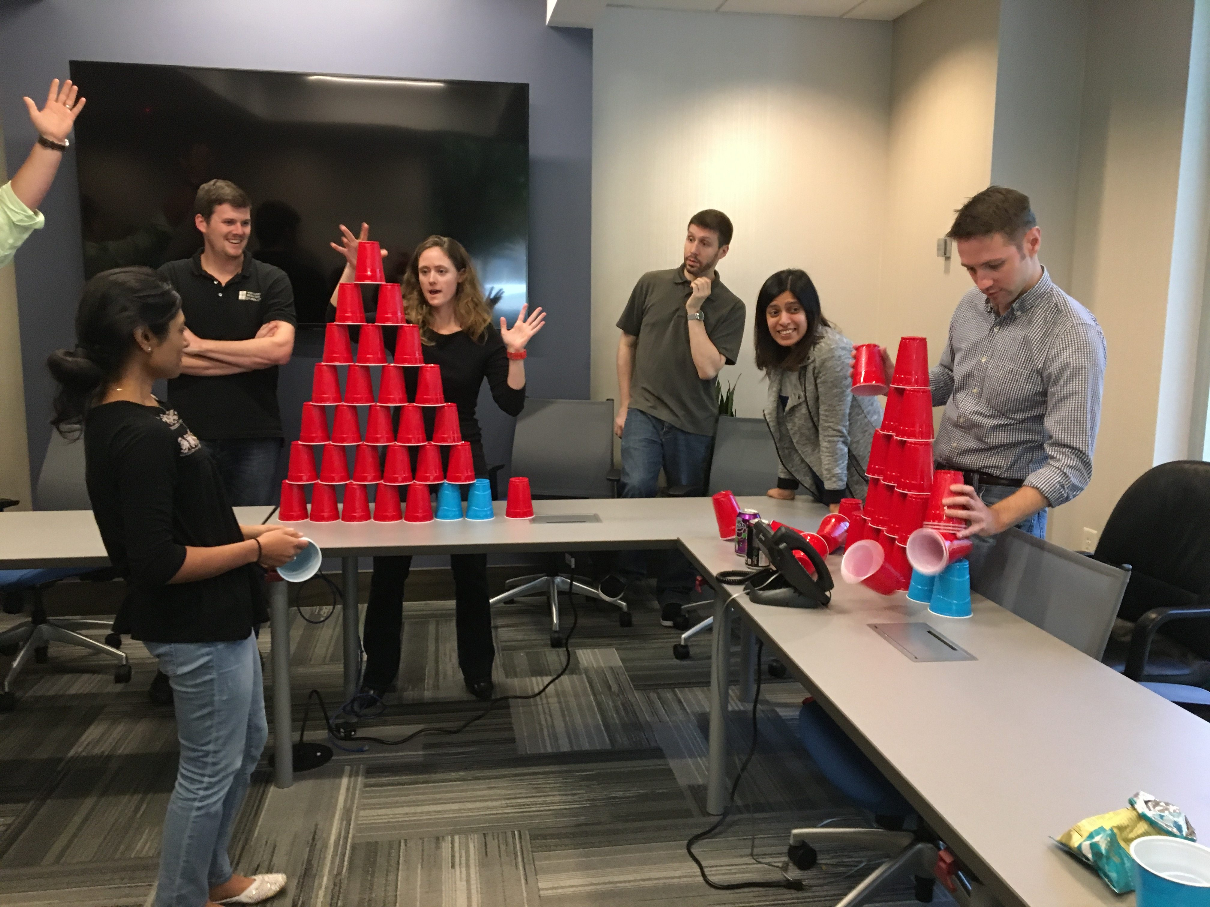 For Halloween 2016, staff competed in cup stacking.