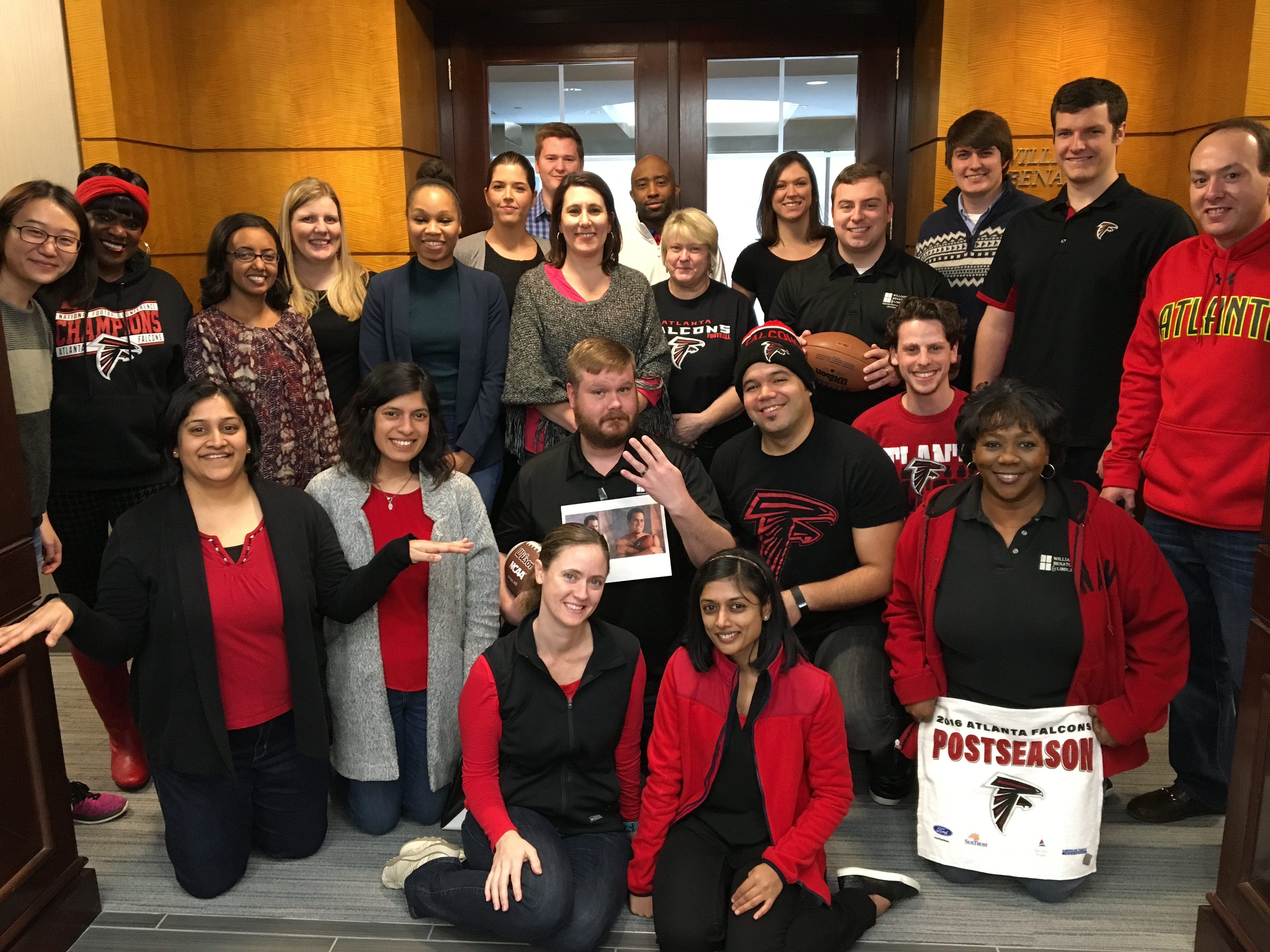 Staff showed their Falcons spirit before the Super Bowl in 2017.