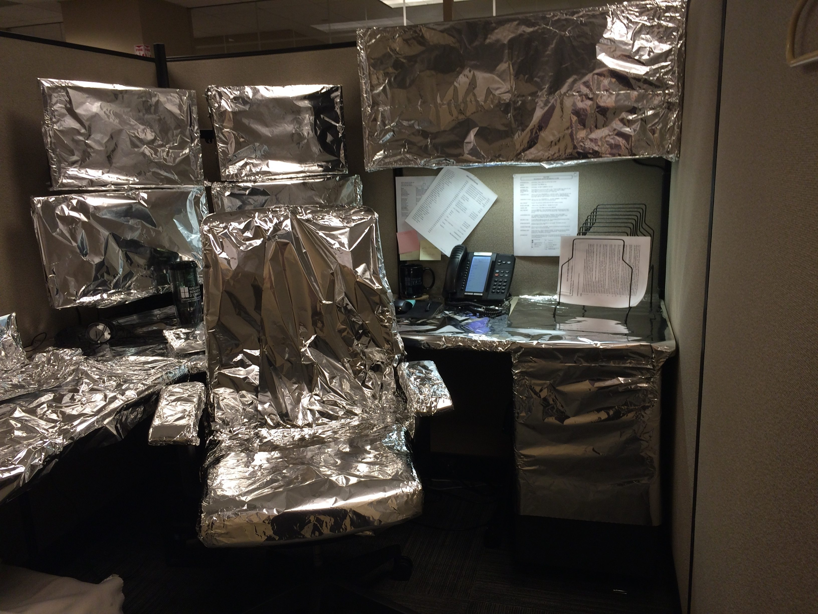 Watch out on April Fools Day. You might find your work station like this!