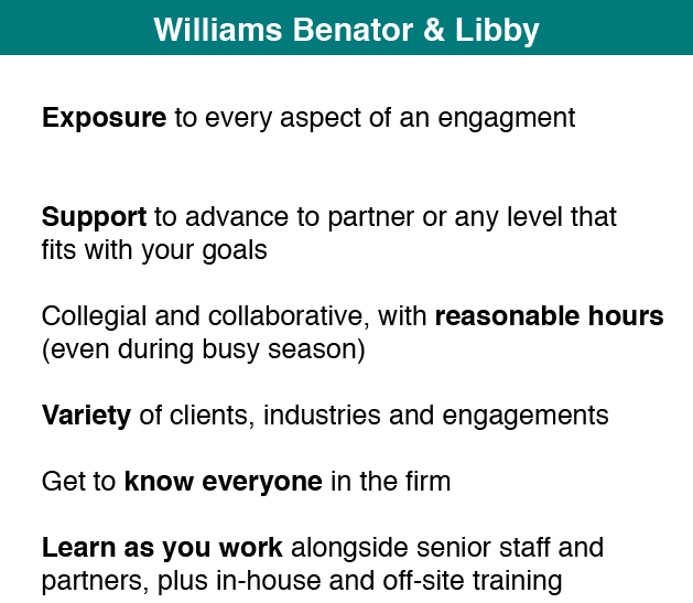 Careers | Williams Benator & Libby, LLP